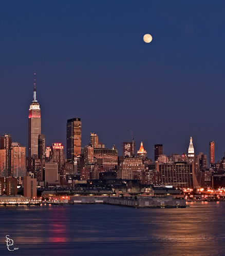 """""""NYC Moonrise"""" We were fortunate enough to have a waxing gibbous (a day shy of a full moon) while celebrating the 4th on this particular year"""