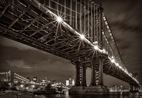 Brooklyn Bridge at night sepia tone