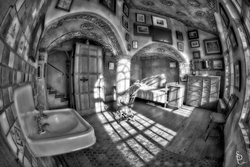 Fonthill Castle, tone mapped using HDR Express, Converted to Black and White using Nik Siver Efex Pro 2,and further minor adjustments made in Adobe Photoshop CS5 ©2011 Susan Candelario SDC Photography