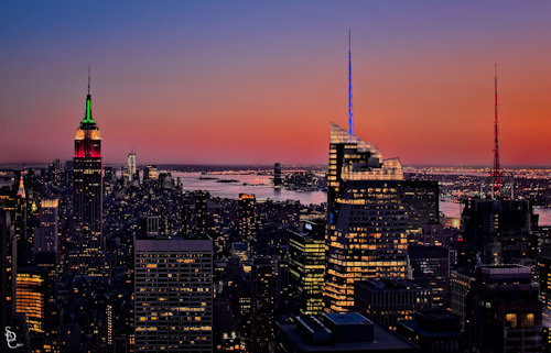 NYC skyline at sunset from Top of the Rock