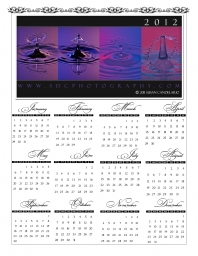 Water drops Photo Free 2012 calendar