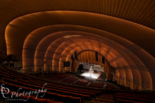 Radio City Music Hall Theatre ~ I added the spotlight on the stage in Photoshop and went for a dark look that is typical in theatres.