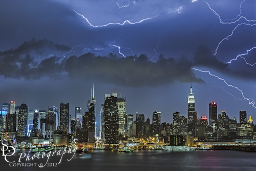Thunder and Lightning storms over the New York City skyline.