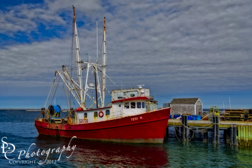 """""""Fishing Troller"""" A colorful fishing troller docked at the P-Town Harbor in Cape Cod, Massachusetts."""