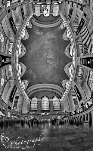A Grand View BW ~ Black and white vertical panorama of the Main Concourse at Grand Central Station Terminal in New York City.