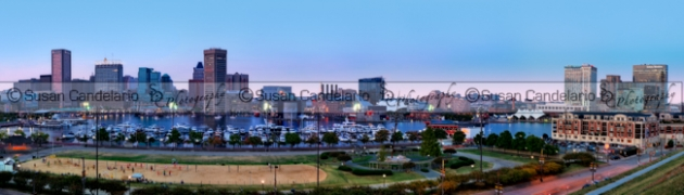 Baltimore Skyline Panorama At Twilight