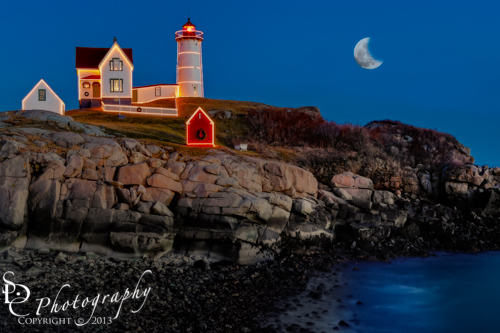 Nubble Lighthouse also know as Neddick Lighthouse all dressed up for ...