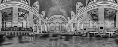 Grand Central Terminal 180 Panorama BW