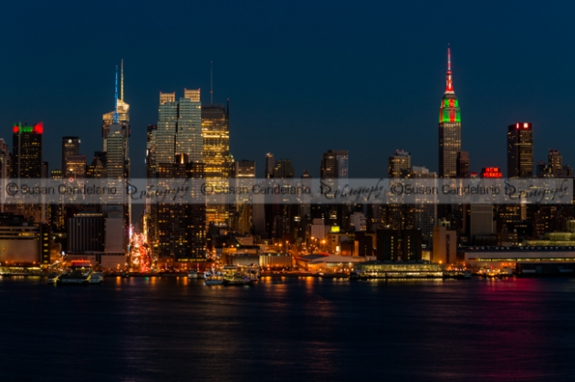 New York City Skyline In Christmas Colors