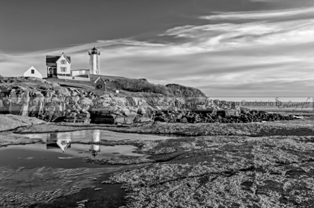 Nubble Lighthouse Reflections BW