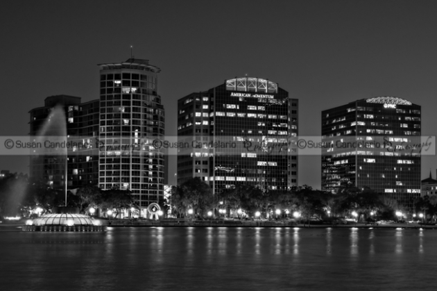 Lake Eola Park Orlando Florida black and white