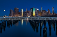 New York City Moonset
