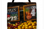 apples and oranges tote bag